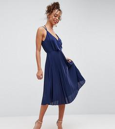 Плиссированное платье миди с запахом ASOS PETITE - Темно-синий