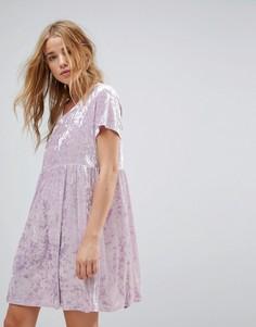 Свободное платье из мятого бархата Glamorous - Фиолетовый
