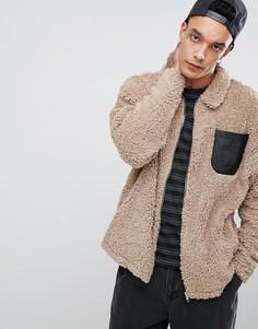 Оверсайз-куртка Харрингтон из искусственного меха с карманом ASOS - Бежевый