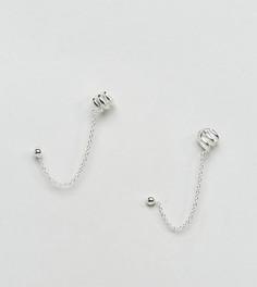 Серебряные серьги-гвоздики с цепочками и каффами ASOS - Серебряный