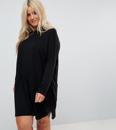 Платье-футболка в стиле оверсайз с отделочными швами ASOS CURVE - Черный