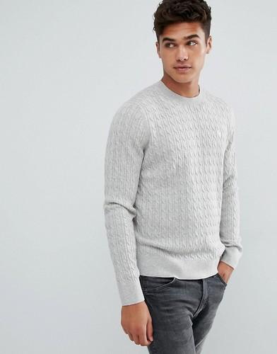 Серый элегантный трикотажный джемпер с логотипом Abercrombie & Fitch - Серый