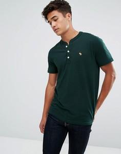 Зеленая футболка хенли узкого кроя с логотипом Abercrombie & Fitch - Зеленый