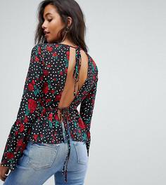 Блузка в горошек с цветочным принтом PrettyLittleThing - Мульти