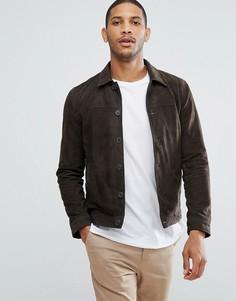 Замшевая куртка-рубашка навыпуск Selected Homme - Зеленый