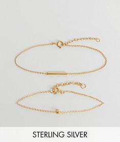 Набор из 2 пар браслетов-цепочек из позолоченного серебра с шаром ASOS - Золотой