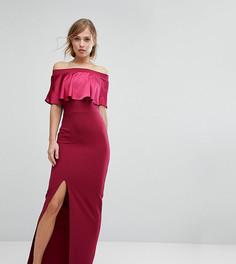 Платье макси с широким вырезом и контрастной атласной отделкой Silver Bloom - Красный