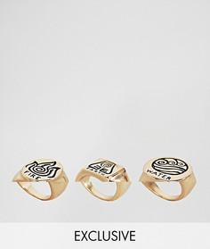 3 кольца с отделкой Monki - Золотой