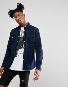 Темно-синяя приталенная джинсовая рубашка в стиле вестерн ASOS - Темно-синий