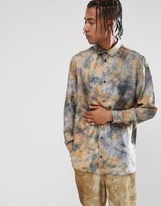 Шелковая рубашка с принтом тай-дай Weekday - Черный