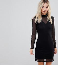 Сетчатое платье мини с длинными рукавами Vero Moda Petite - Черный