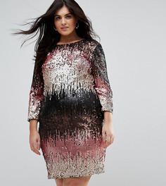 Облегающее платье мини с пайетками Little Mistress Plus - Мульти