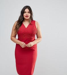 Облегающее платье с глубоким вырезом и кружевной аппликацией Little Mistress Plus - Красный