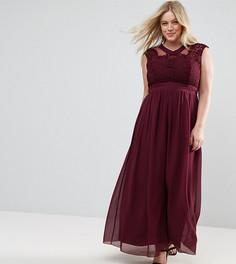 Платье макси с кружевом на лифе Little Mistress Plus - Красный