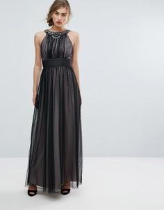 Декорированное сетчатое платье макси Little Mistress - Черный