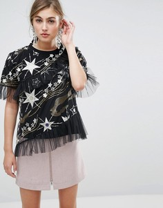 Сетчатая блузка с блестящим звездным узором Sister Jane - Черный