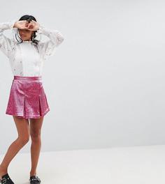 Двухслойная юбка-шорты мини с плиссировкой Sister Jane Petite - Розовый