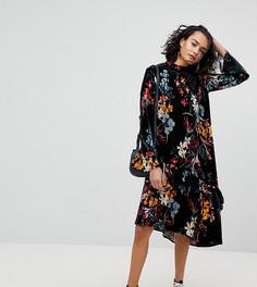 Свободное бархатное платье миди с цветочным принтом Reclaimed Vintage Inspired - Мульти