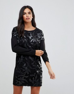 Платье-джемпер с отделкой из полиуретана Wal G - Черный