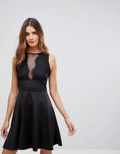 Короткое приталенное платье с глубоким вырезом и сетчатой вставкой Wal G - Черный