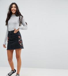 Джинсовая мини-юбка с вышивкой New Look Tall - Черный