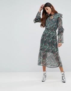 Платье миди с цветочным принтом, вырезом капелькой и оборками Influence - Мульти