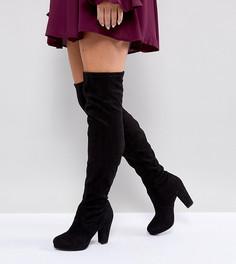 Сапоги-ботфорты на каблуке для широкой стопы из искусственной замши New Look - Черный