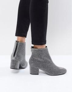Блестящие ботинки на блочном каблуке New Look - Серый