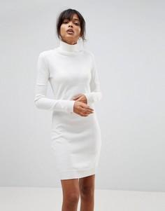 Платье‑джемпер с отворачивающимся воротником Boohoo - Кремовый