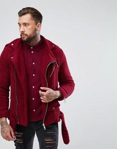 Бордовая байкерская куртка из искусственного меха boohooMAN - Красный