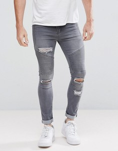 Серые байкерские джинсы скинни с рваной отделкой boohooMAN - Серый