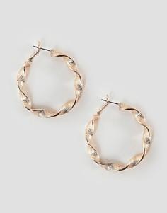 Витые серьги-кольца Pieces - Золотой