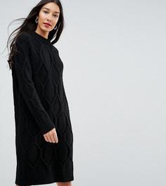 Платье-джемпер крупной вязки с узором косы Y.A.S Tall - Черный