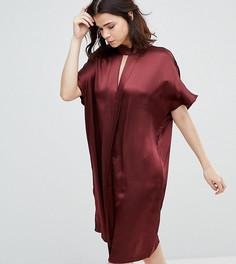 Атласное платье с высоким воротом Y.A.S Tall - Коричневый