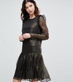 Платье цвета металлик с заниженной линией талии и оборками Y.A.S Tall - Золотой