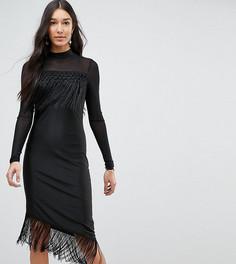 Облегающее платье с бахромой Y.A.S Tall - Черный
