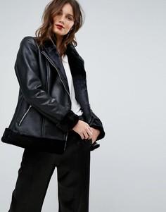 Кожаная куртка-авиатор на подкладке из искусственного меха Y.A.S - Черный