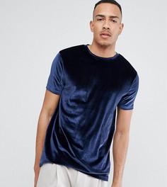 Темно-синяя бархатная футболка ASOS TALL - Темно-синий