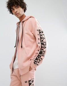Худи розового цвета на молнии Napapijri Badstow - Розовый