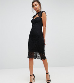 Ажурное платье-футляр миди Chi Chi London Tall - Черный