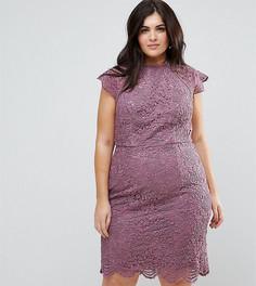 Кружевное платье-футляр миди Chi Chi London Plus - Фиолетовый
