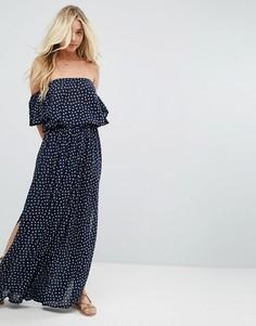 Платье макси с открытыми плечами Faithfull - Темно-синий