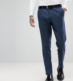 Узкие эластичные твидовые брюки с узором в елочку Heart & Dagger - Темно-синий