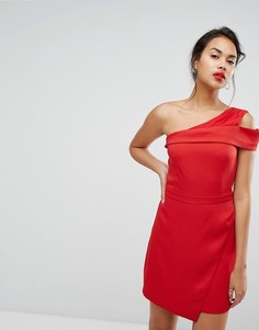 Платье мини на одно плечо со складками спереди Morgan - Красный