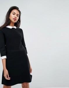 Короткое приталенное платье из трикотажа 2 в 1 с подкладкой-рубашкой Morgan - Черный