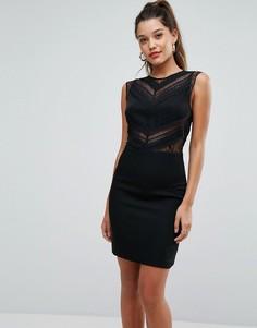 Платье-футляр с кружевной вставкой Morgan - Черный