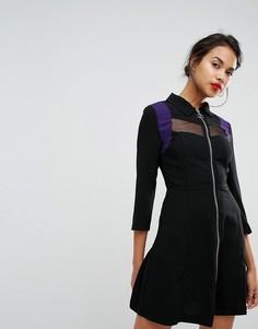 Платье с молнией и сетчатыми вставками Morgan - Черный