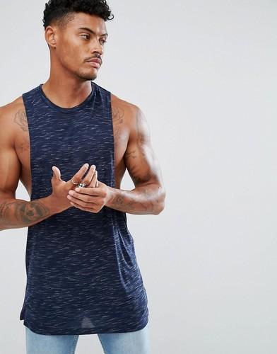 Спортивная футболка без рукавов ASOS - Темно-синий