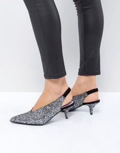 Сиреневые блестящие туфли с ремешком на пятке и каблуком-рюмочка Gestuz - Серебряный