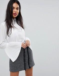 Прозрачная блузка с воротом на завязке и плиссированными рукавами Sisley - Белый